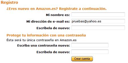 Crear cuenta en Amazon
